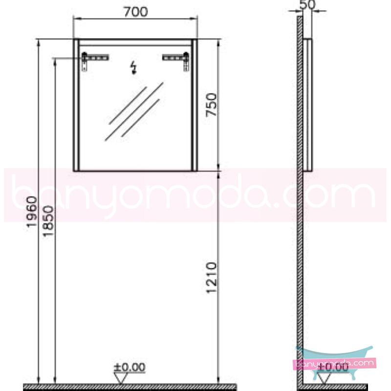 Vitra T4 Aydınlatmalı Ayna, 70 cm, Hasiente Siyah - 54640 termoform kaplama sade ve ince görüntsünüyle banyonuza değer katan Noa tasarımlı mobilya en uygun fiyatlarla Banyomoda'dan online satın alabilirsiniz.