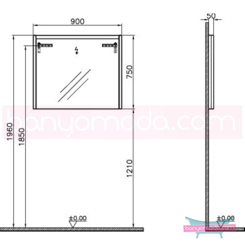 Vitra T4 Aydınlatmalı Ayna, 90 cm, Hasiente Kahve - 54651 termoform kaplama sade ve ince görüntsünüyle banyonuza değer katan Noa tasarımlı mobilya en uygun fiyatlarla Banyomoda'dan online satın alabilirsiniz.