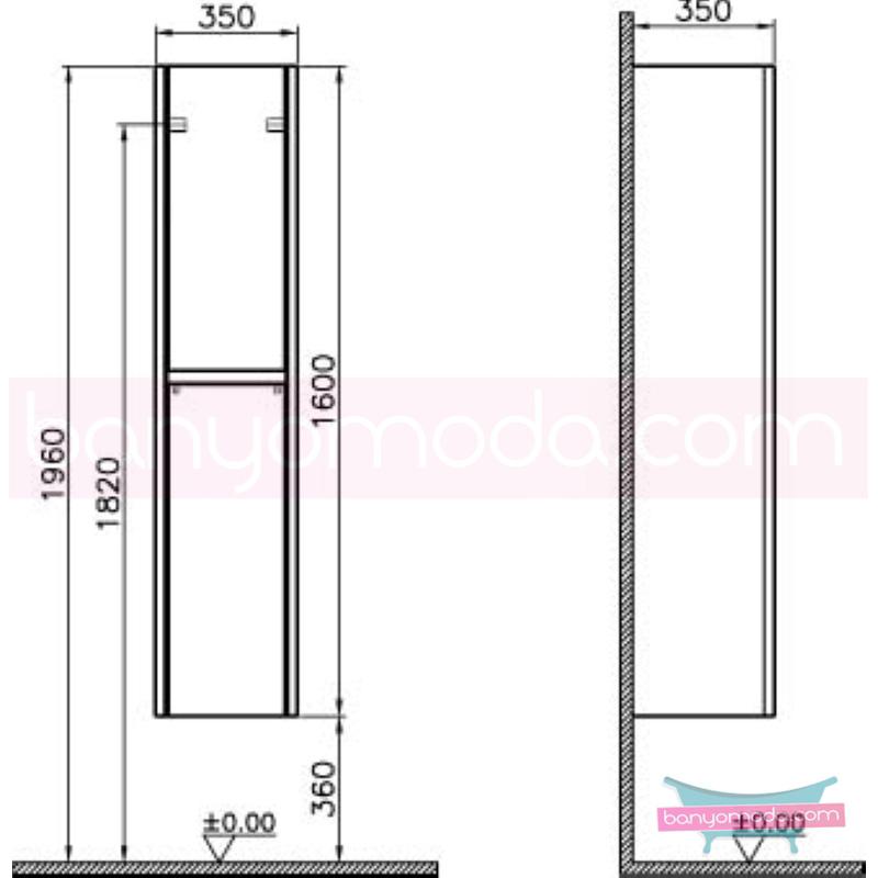 Vitra T4 Boy Dolabı (Sol), Hasiente Siyah - 54712 asma termoform kaplama yavaş kapanır sade ve ince görüntsünüyle banyonuza değer katan Noa tasarımlı mobilya en uygun fiyatlarla Banyomoda'dan online satın alabilirsiniz.