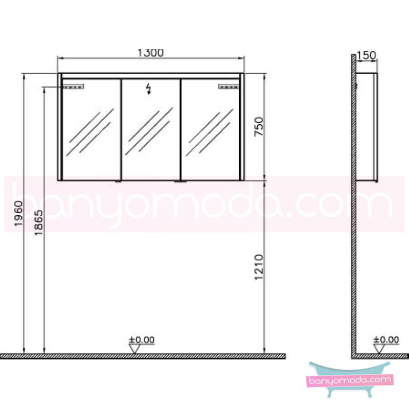 Vitra T4 Aydınlatmalı Dolaplı Ayna, 130 cm, Hasiente Siyah - 54694 asma termoform kaplama yavaş kapanır sade ve ince görüntsünüyle banyonuza değer katan Noa tasarımlı mobilya en uygun fiyatlarla Banyomoda'dan online satın alabilirsiniz.