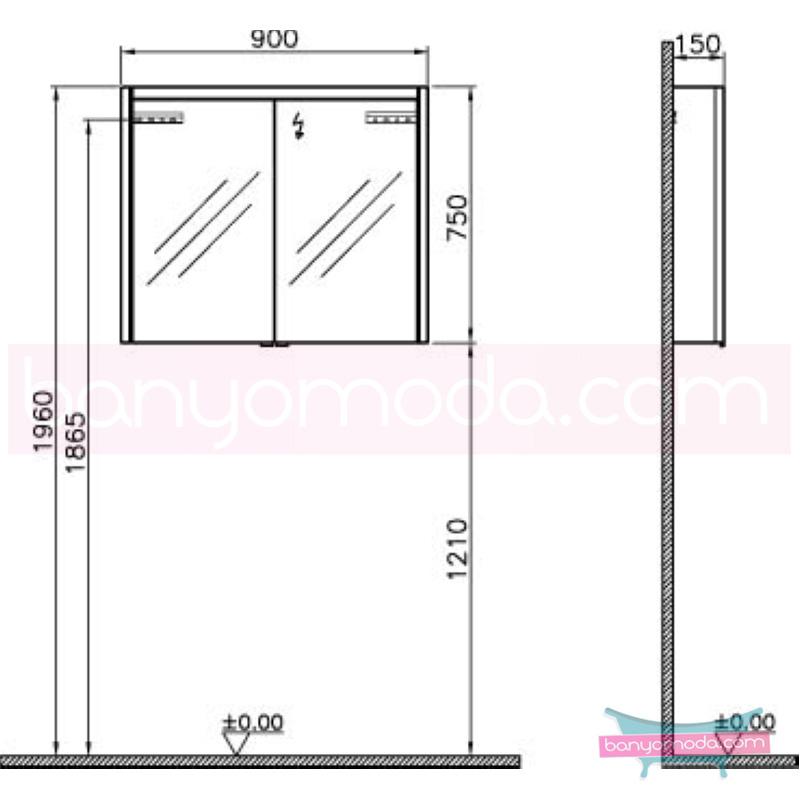 Vitra T4 Aydınlatmalı Dolaplı Ayna, 90 cm, Hasiente Siyah - 54688 asma termoform kaplama yavaş kapanır sade ve ince görüntsünüyle banyonuza değer katan Noa tasarımlı mobilya en uygun fiyatlarla Banyomoda'dan online satın alabilirsiniz.
