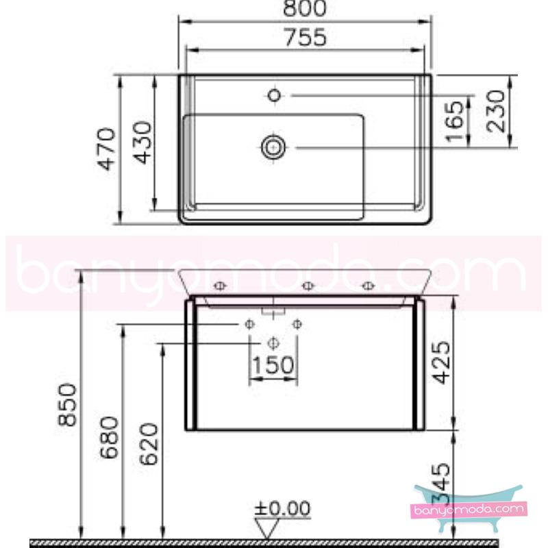 Vitra T4 Lavabo Dolabı, 80 cm, Mat Beyaz (Lavabo Dahil) - 54570 asma lake kaplama kulplu yavaş kapanır çekmeceli sade ve ince görüntsünüyle banyonuza değer katan Noa tasarımlı mobilya en uygun fiyatlarla Banyomoda'dan online satın alabilirsiniz.