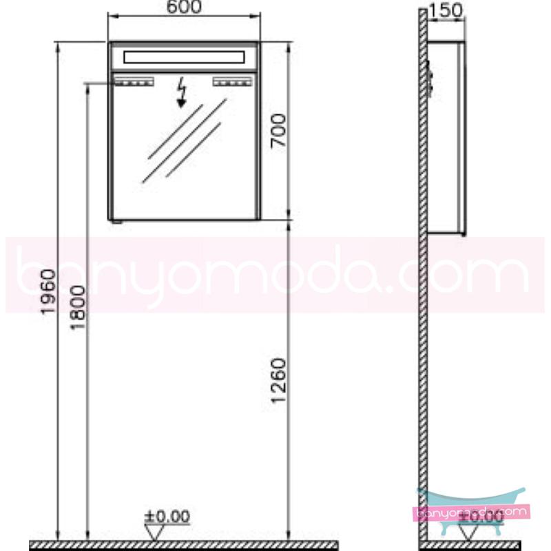 Vitra S50+ Aydınlatmalı Dolaplı Ayna (Sağ), 60 cm, Koyu Meşe - 54961 asma termoform kaplama kulplu yavaş kapanır en uygun fiyatlarla Banyomoda'dan online satın alabilirsiniz.